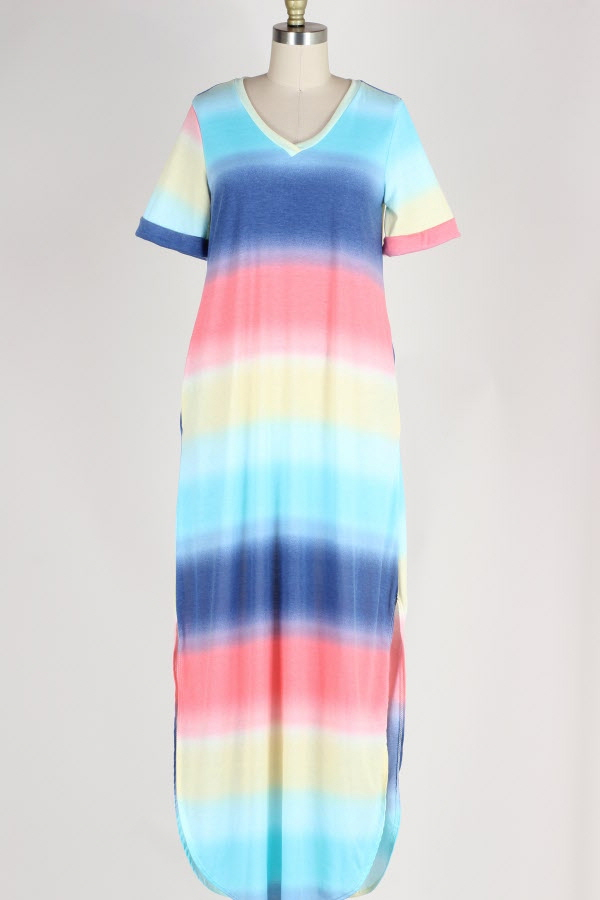 PLUS SIZE OMBRE STRIPED MAXI DRESS WITH POCKETS