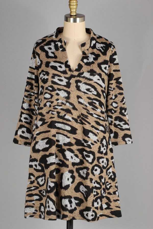 10-10 PRE ORDER ANIMAL PRINT KNIT TUNIC DRESS WITH POCKETS