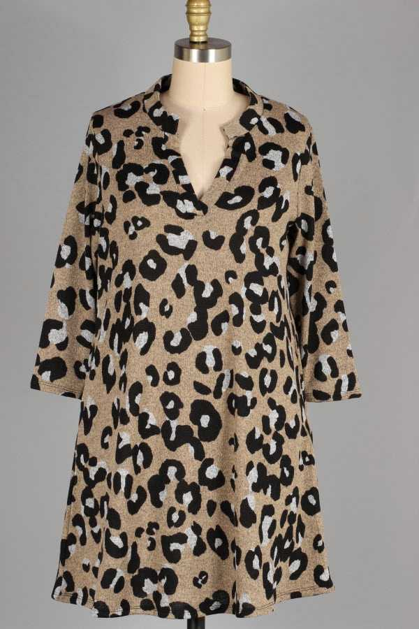 10-18 PRE ORDER PLUS SIZE-ANIMAL PRINT KNIT DRESS WITH POCKETS