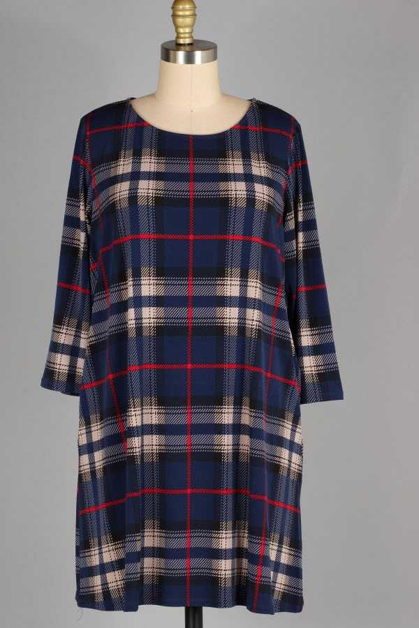 10-3 PRE ORDER PLUS SIZE 2/3 SLEEVE PLAID PRINT DRESS WITH POCKE