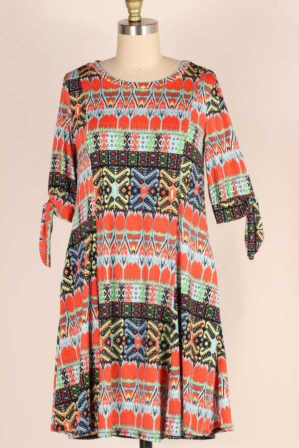 PLUS SIZE SLIT SLEEVE MULTI BORDER PRINT DRESS WITH POCKETS