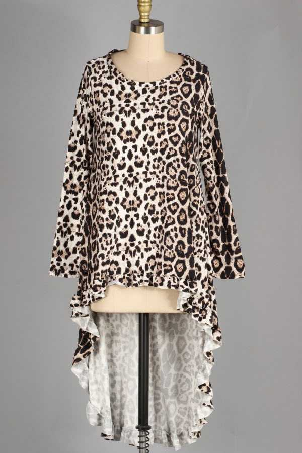 PLUS SIZE ANIMAL PRINT RUFFLED HIGH LOW TUNIC TO