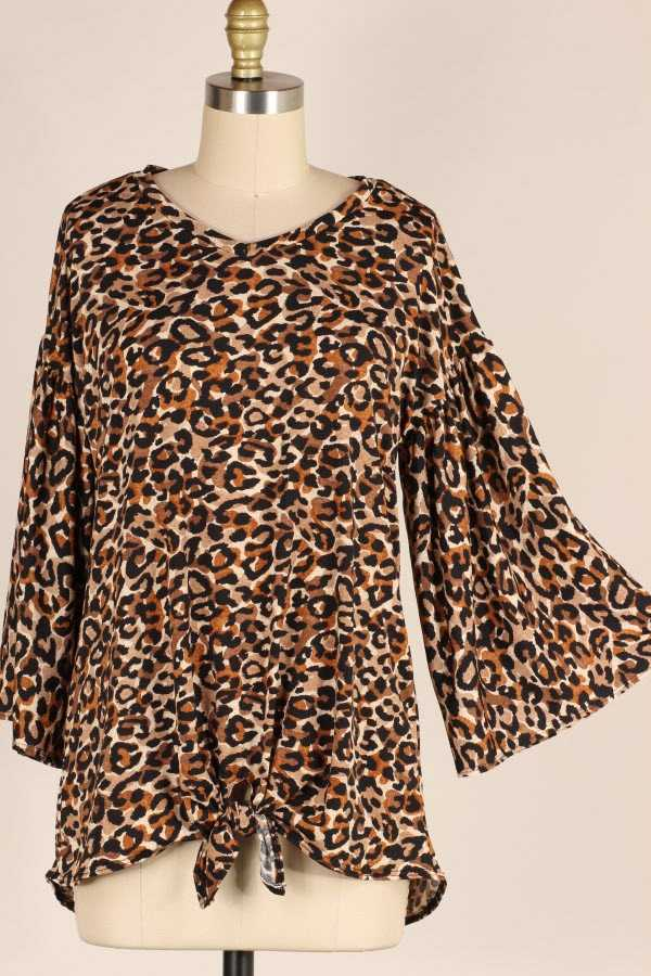 PLUS SIZE KNOTTED HEM WIDE SLEEVE LEOPARD PRINT TUNIC TOP