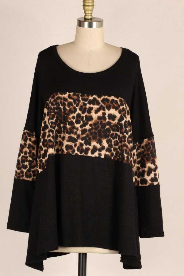 PLUS SIZE LOOSE PRINT LEOPARD PRINT CONTRAST BRUSHED TOP