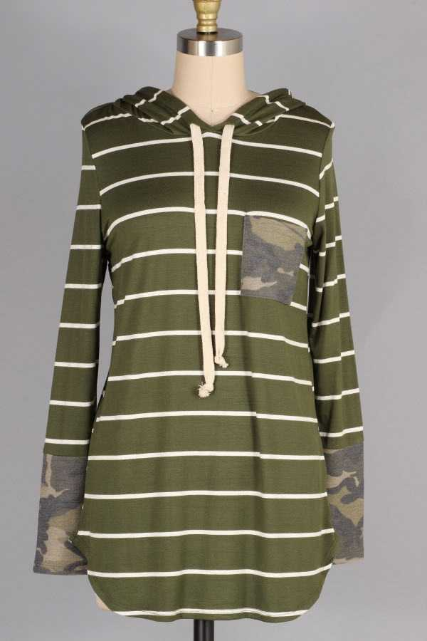 STRIPED CAMOUFLAGE PRINT POCKET HOODED TOP