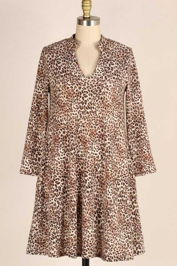 PLUS SIZE LEOPARD PRINT TUNIC DRESS WITH POCKETS