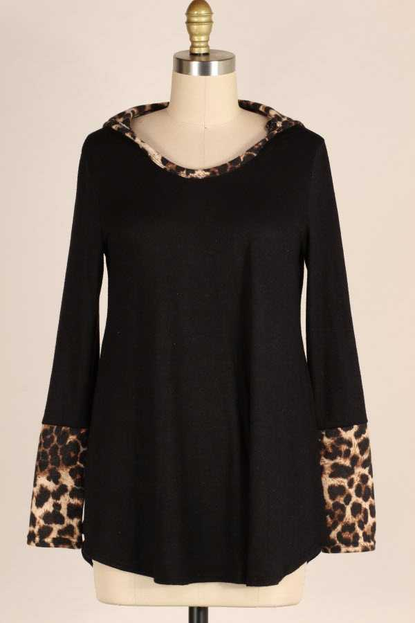PLUS SIZE LEOPARD PRINT CONTRAST HOODED TOP