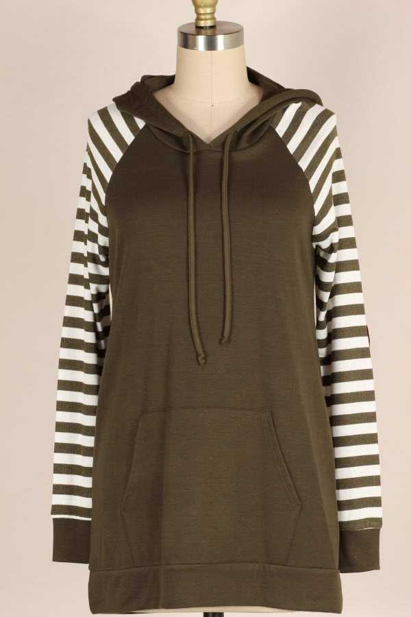 HEART ELBOW PATCH DETAIL STRIPED HOODED TOP WITH POUCH