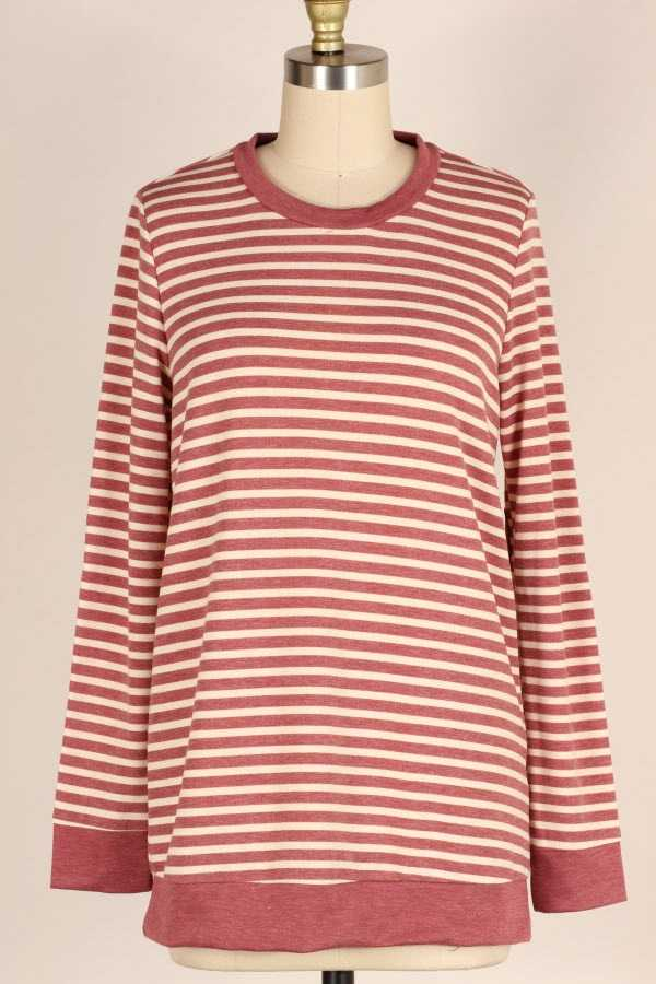 STRIPED LONG SLEEVE TOP WITH ELBOW PATCHES