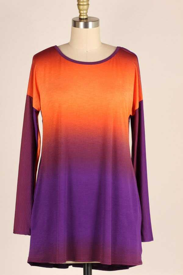 PLUS SIZE CRISS CROSS BACK OMBRE TUNIC TOP