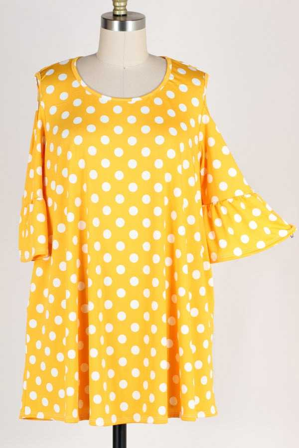 PLUS SIZE COLD SHOULDER POLKA DOT PRINT TUNIC TOP WITH POCKETS