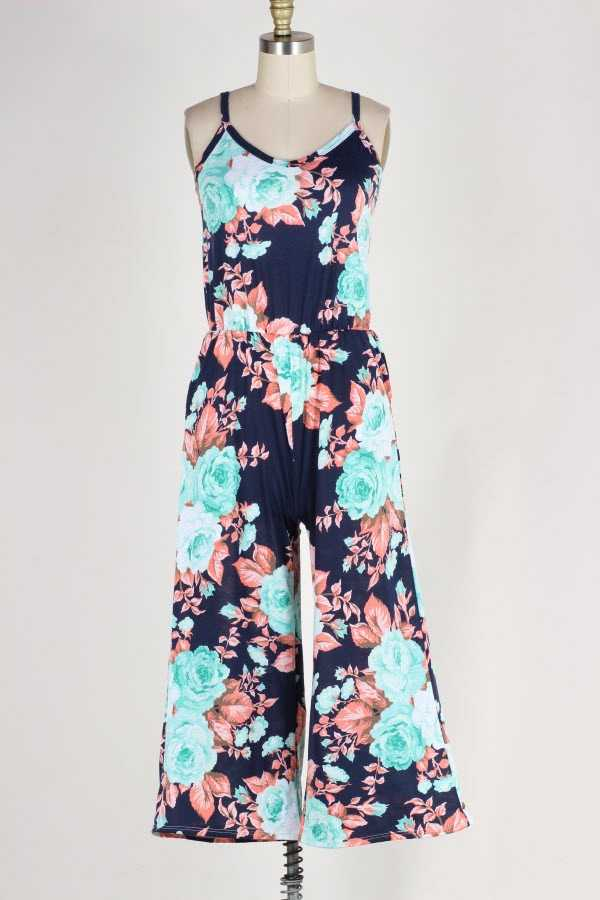 PLUS SIZE FLORAL PRINT JUMPSUIT WITH POCKETS
