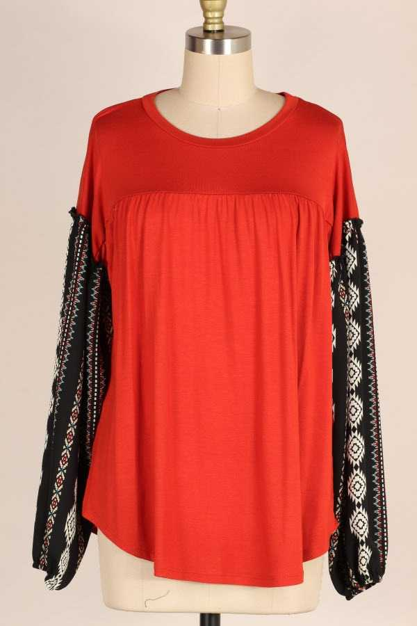 TRIBAL PRINT BUBBLE SLEEVE TUNIC TOP