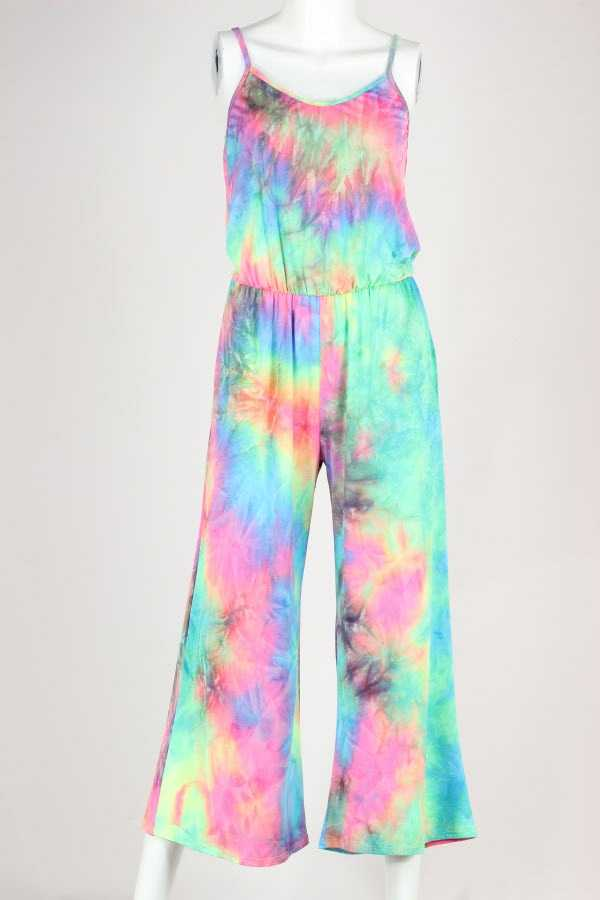 NEON TIE DYE PRINT JUMPSUIT WITH POCKETS