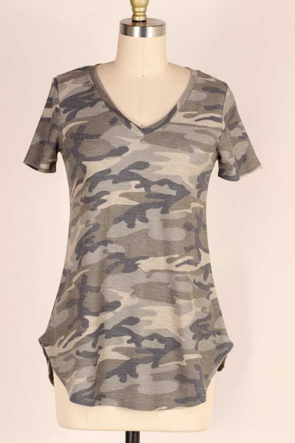 SHORT SLEEVE CAMOUFLAGE PRINT TUNIC TOP