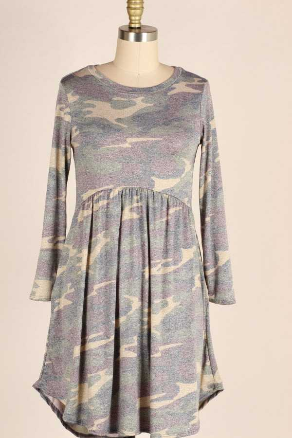 RUFFLED FADED CAMOUFLAGE PRINT DRESS WITH POCKETS