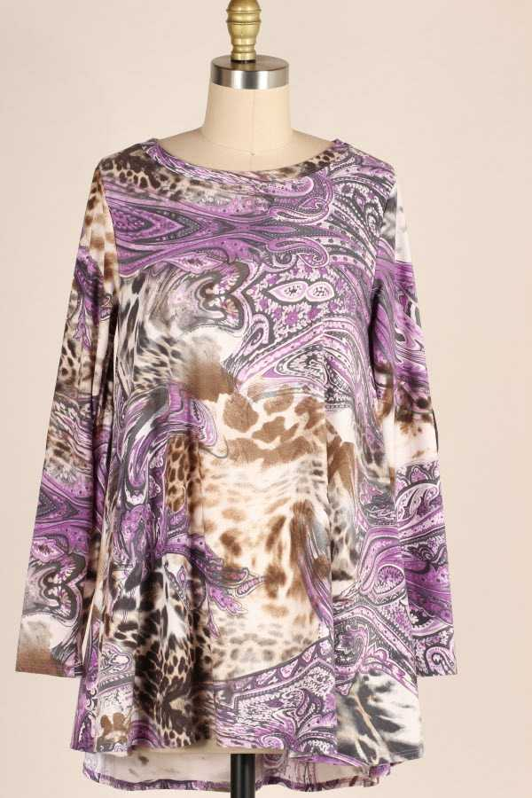 PLUS SIZE MULTI PRINT TUNIC TOP WITH ELBOW PATCHES