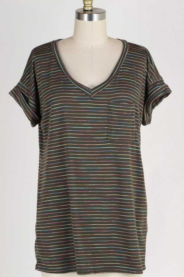 PLUS SIZE STRIPED SHORT SLEEVE POCKET TUNIC TOP