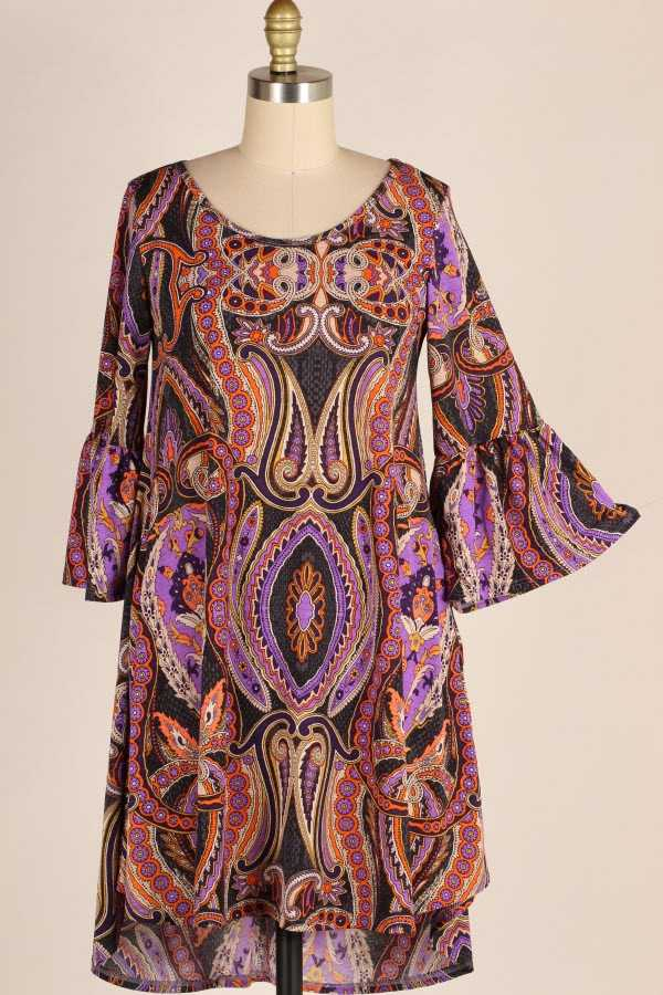 PLUS SIZE RUFFLE SLEEVE BAROQUE PRINT DRESS WITH POCKETS