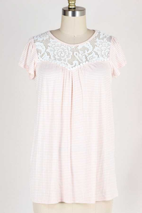 LACE CONTRAST STRIPED BABYDOLL TOP