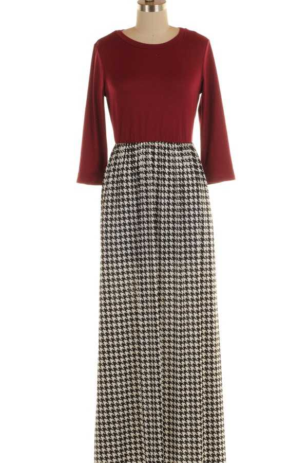 HOUNDSTOOTH PRINT CONTRAST MAXI DRESS WITH POCKETS