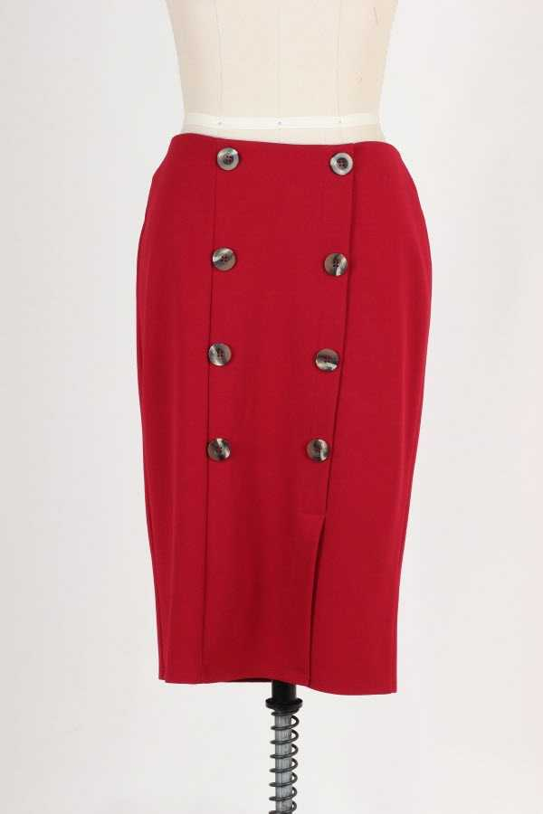 PLUS SIZE BUTTON DETAIL SOLID SKIRT