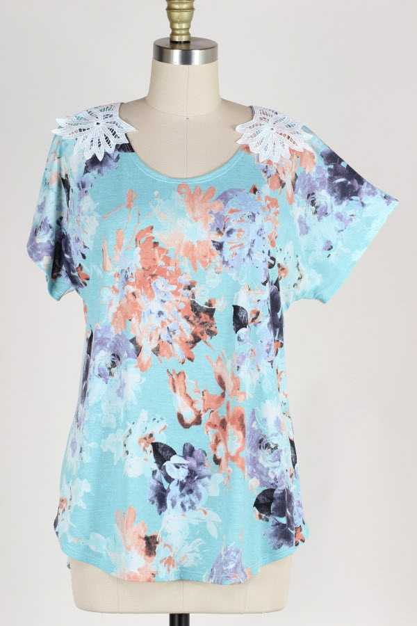 LACE CONTRAST FLORAL PRINT TUNIC TOP