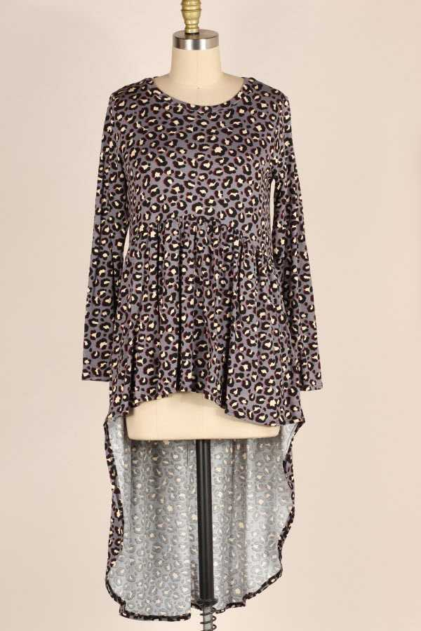 PLUS SIZE RUFFLED LEOPARD PRINT HIGH LOW TUNIC TOP