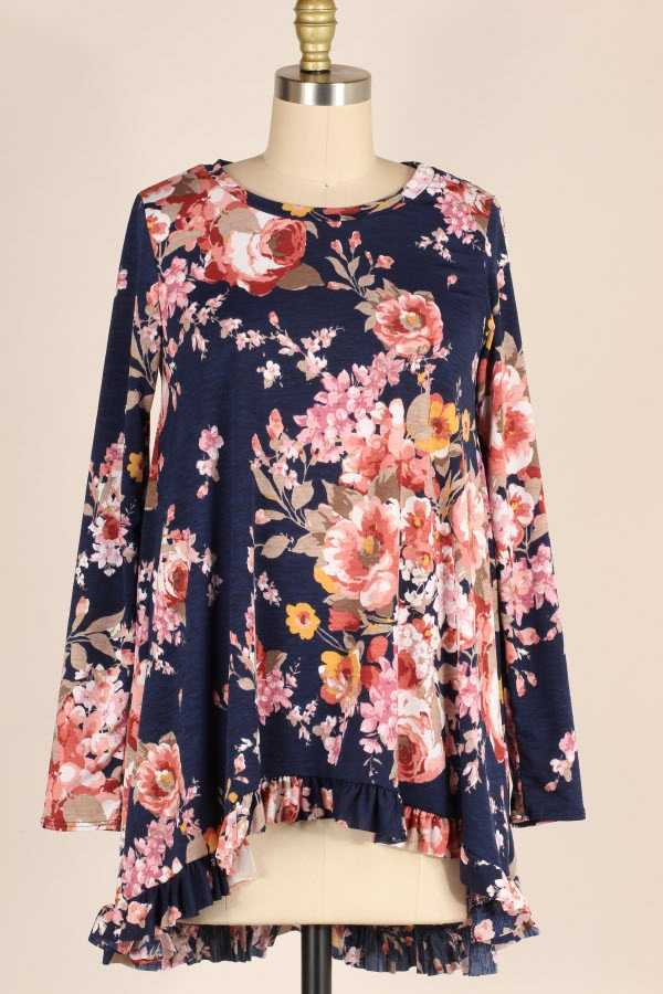 PLUS SIZE RUFFLE HEM FLORAL PRINT LONG SLEEVE TOP