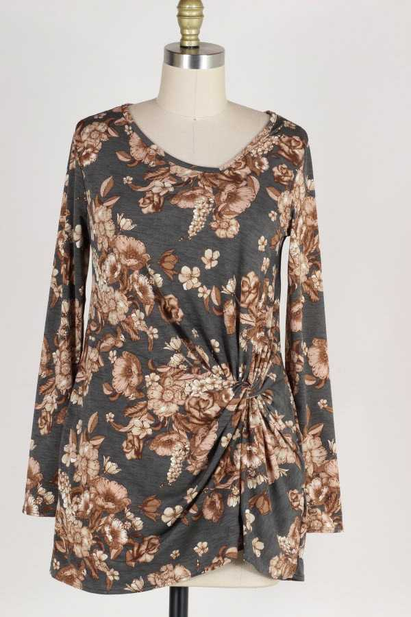 PLUS SIZE KNOTTED LONG SLEEVE FLORAL PRINT TUNIC TOP