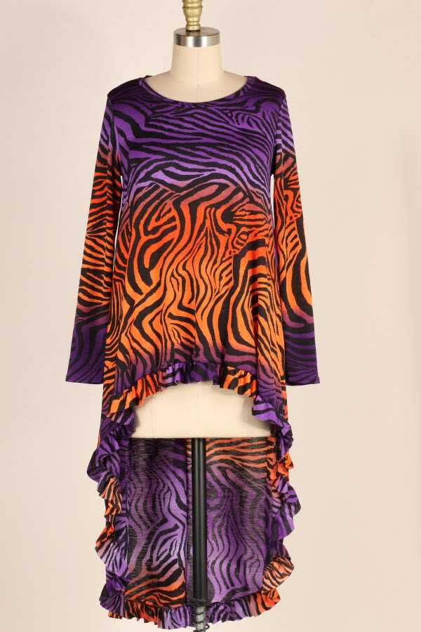PLUS SIZE RUFFLE HEM OMBRE ANIMAL PRINT HIGH LOW TUNIC TOP