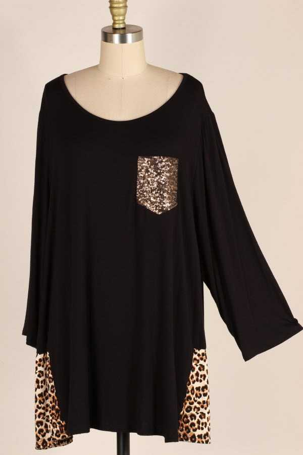 EXTRA PLUS SIZE SEQUINED LEOPARD PRINT CONTRAST TUNIC TOP