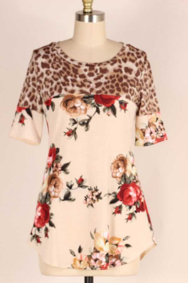 LEOPARD FLORAL PRINT CONTRAST TUNIC TOP