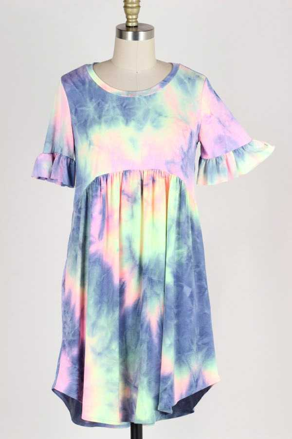 RUFFLE SLEEVE TIE DYE PRINT DRESS WITH POCKETS