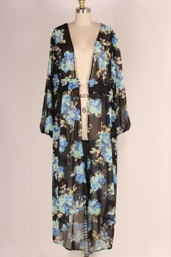 PLUS SIZE BUTTONED WAIST SHEER FLORAL PRINT MAXI CARDIGAN