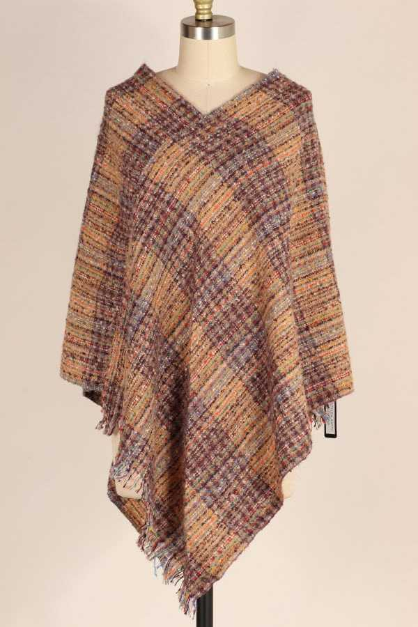 FRINGE HEM MULTICOLOR STRIPED KNIT PONCHO