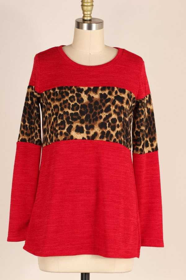 PLUS SIZE LEOPARD CONTRAST KNIT TOP