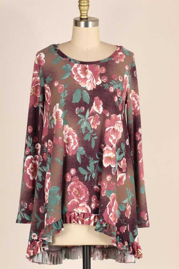 PLUS SIZE RUFFLE HEM LONG SLEEVE FLORAL PRINT TUNIC TOP