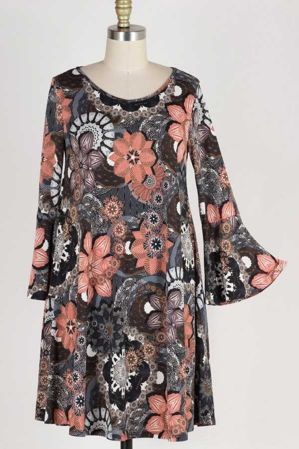 PLUS SIZE RUFFLE SLEEVE GEO FLORAL PRINT DRESS WITH POCKETS