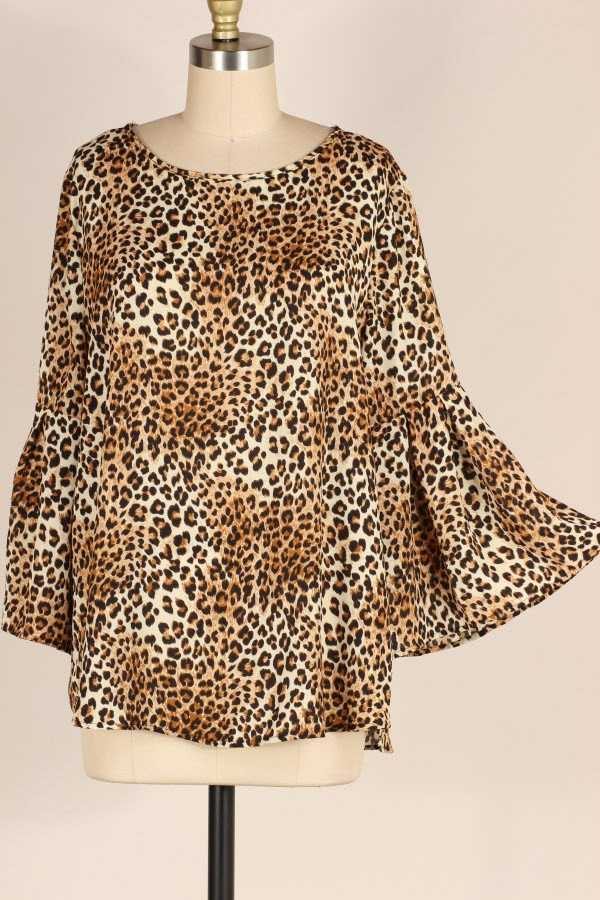 PLUS SIZE RUFFLE SLEEVE LEOPARD PRINT TUNIC TOP