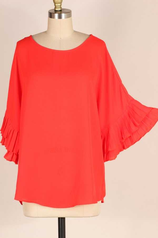 PLUS SIZE RUFFLE SLEEVE SOLID TUNIC TOP