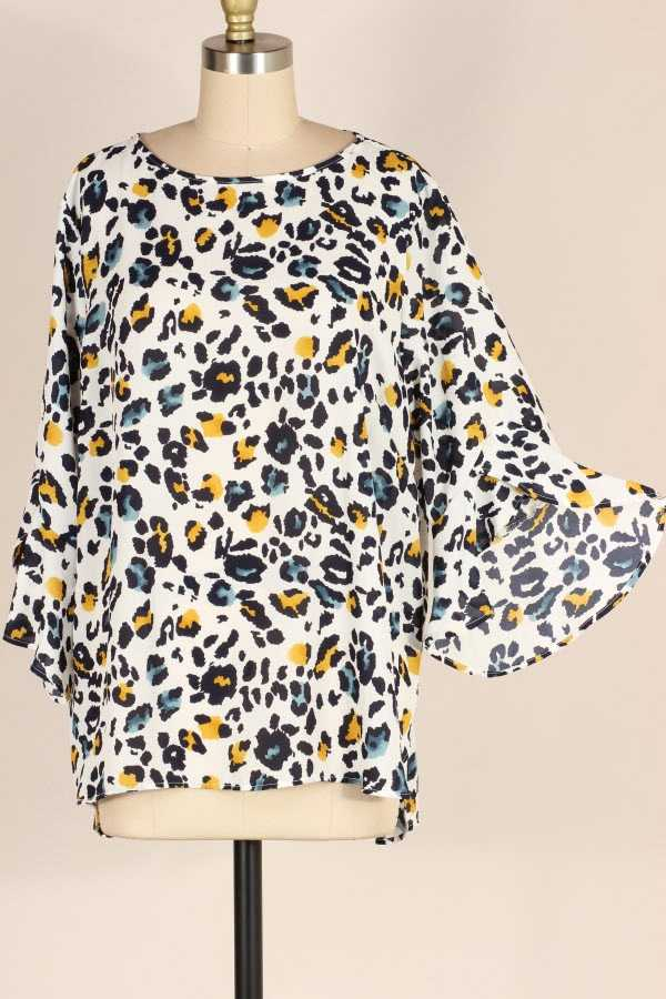 PLUS SIZE RUFFLE SLEEVE ANIMAL PRINT TUNIC TOP