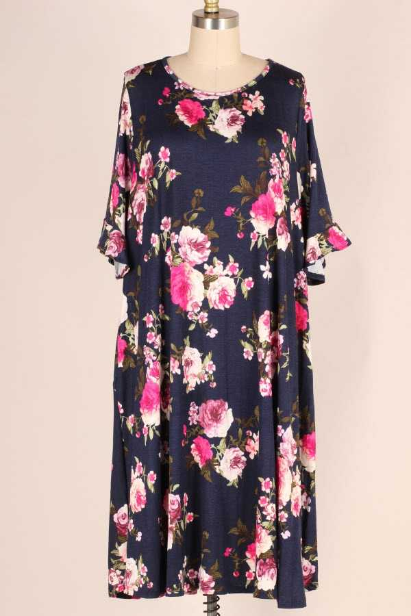 PLUS SIZE RUFFLE SLEEVE FLORAL PRINT MIDI DRESS W POCKETS