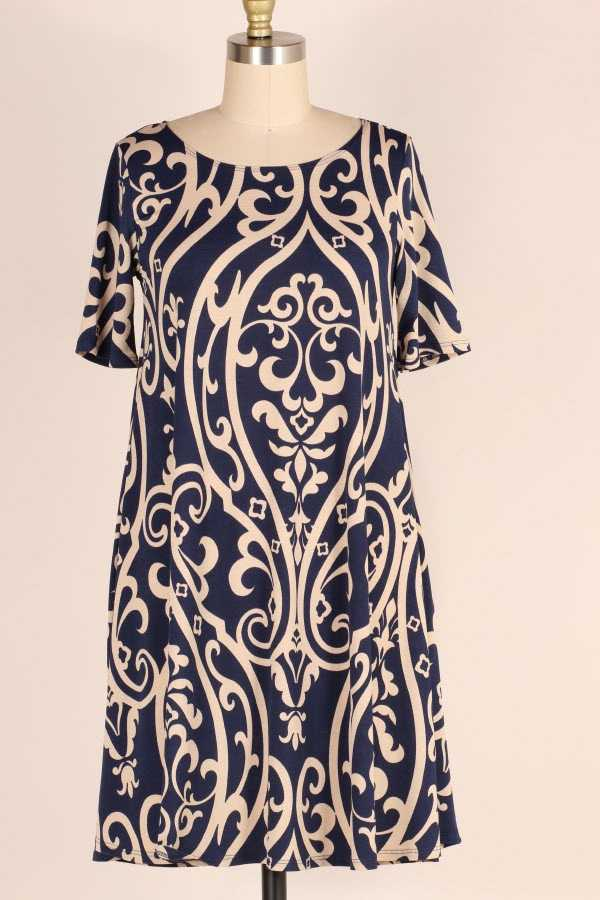 SHORT SLEEVE DAMASK PRINT DRESS WITH POCKETS
