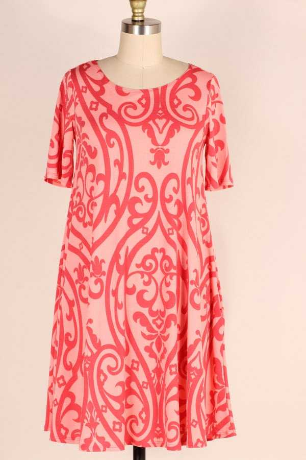 PLUS SIZE SHORT SLEEVE DAMASK PRINT DRESS WITH POCKETS
