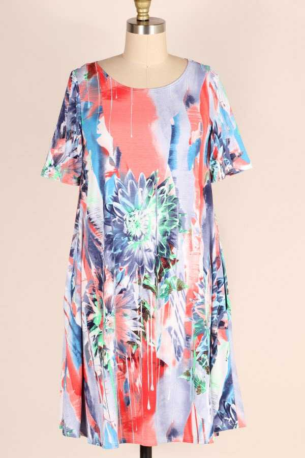 SHORT SLEEVE TIE DYE FLORAL PRINT DRESS WITH POCKETS