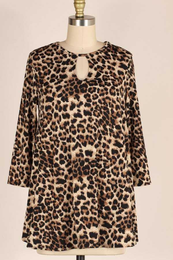 PLUS SIZE CHEST CUTOUT LEOPARD PRINT TUNIC TOP