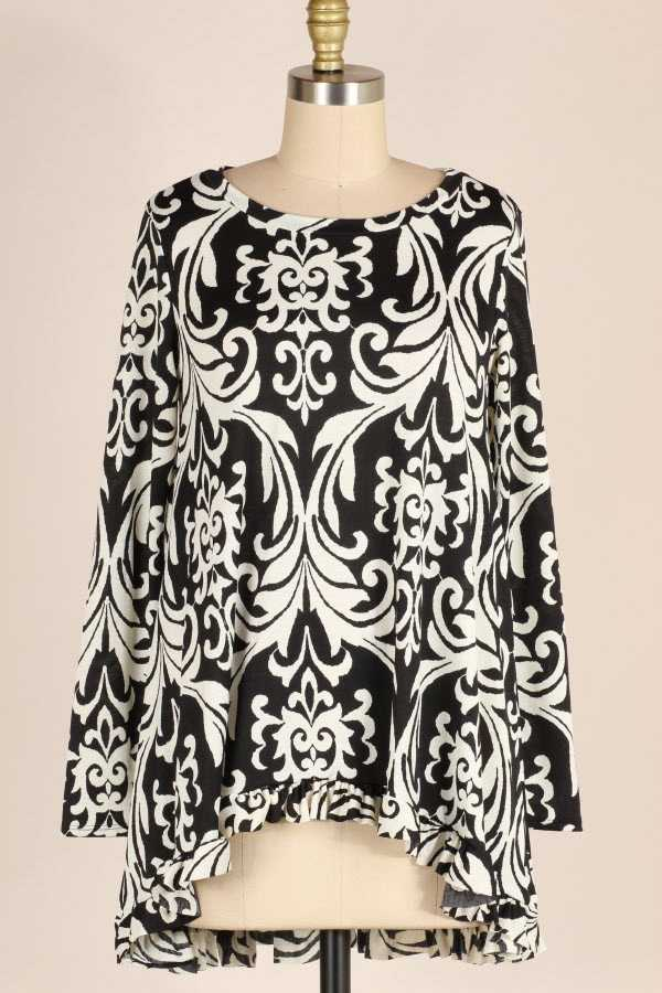 PLUS SIZE RUFFLE HEM DAMASK PRINT LONG SLEEVE TUNIC TOP