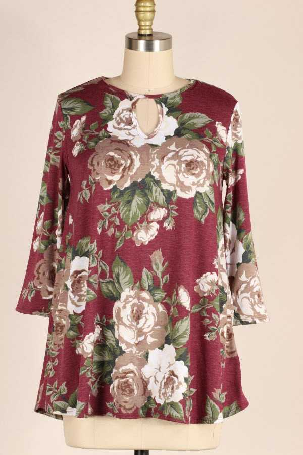 PLUS SIZE CHEST CUTOUT FLORAL PRINT TUNIC TOP