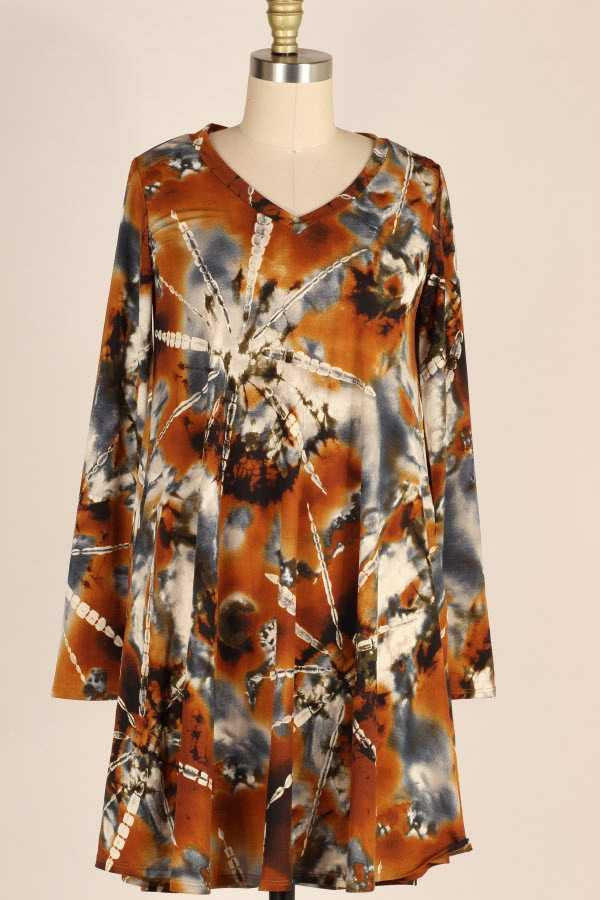 PLUS SIZE LONG SLEEVE TIE DYE PRINT DRESS WITH POCKETS
